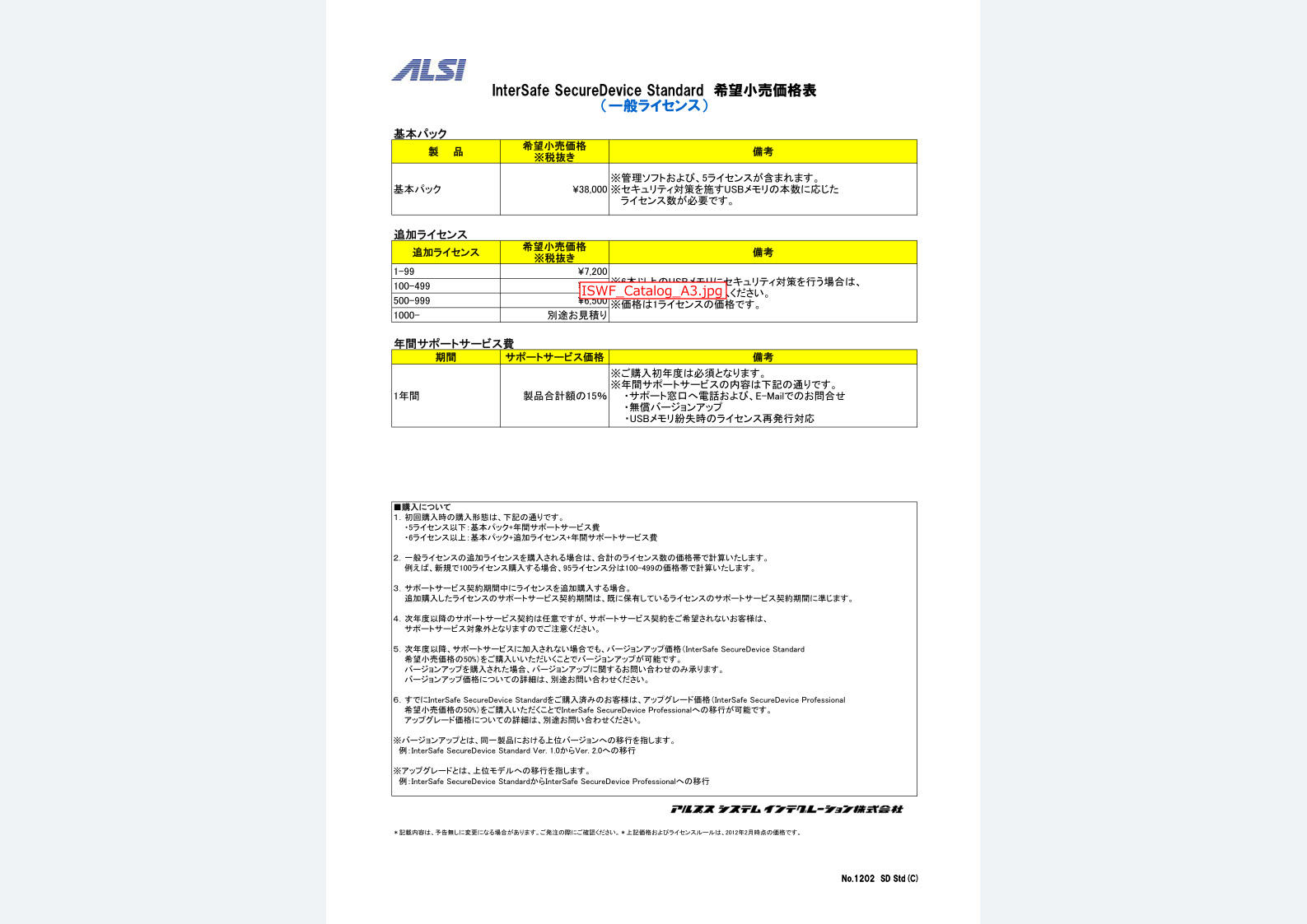 InterSafe SecureDevice Standard 価格表